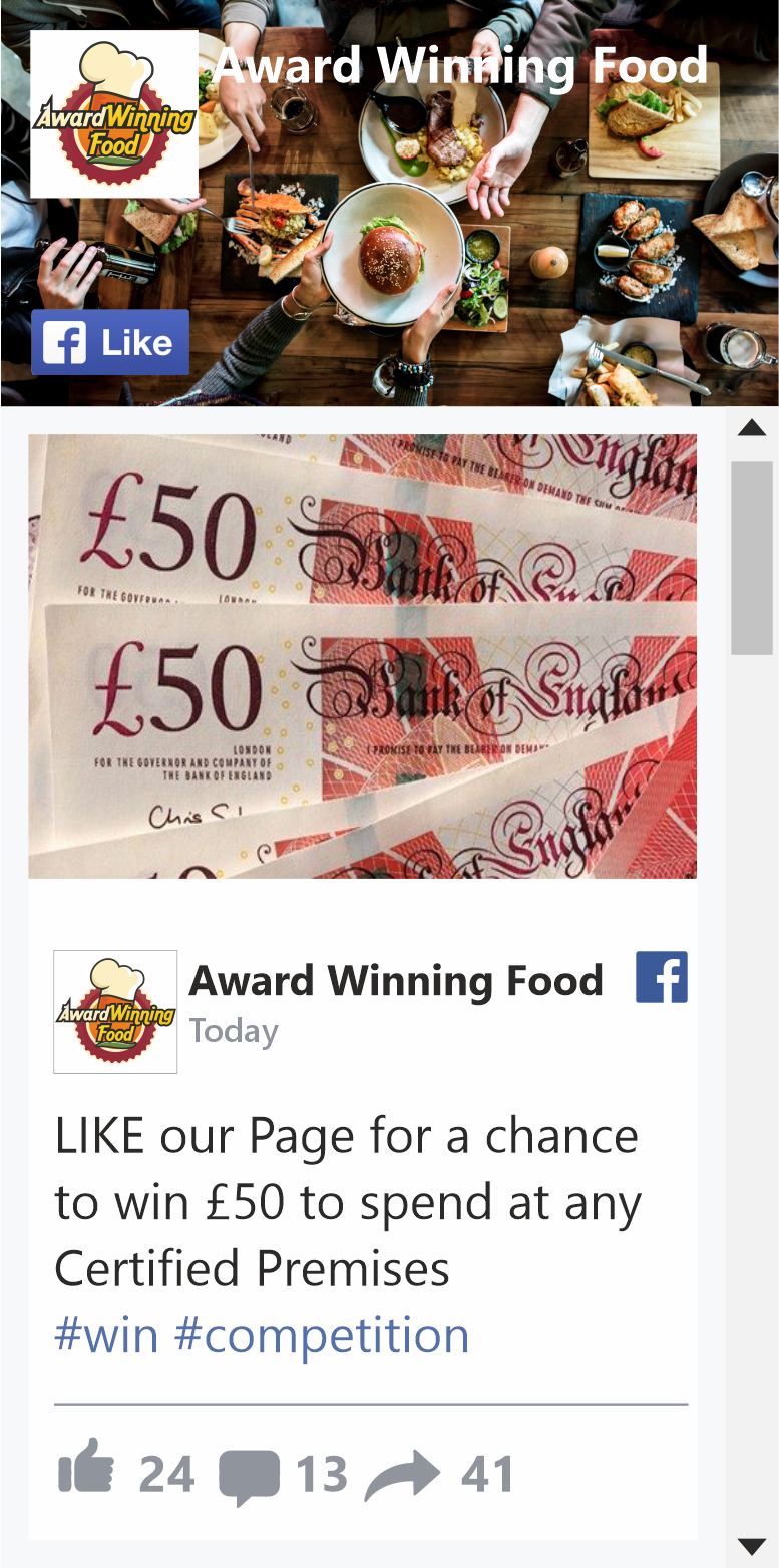 Award Winning Food Facbook Competition
